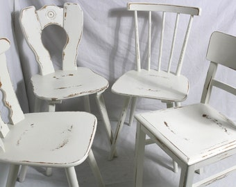 4 white wooden chairs Shabby chairs Farmhouse chairs Dining chairs cream white 60s Shabby Chic Furniture Vintage Country Country Country 4 sets