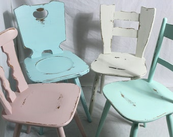 4 xWood Chairs Shabby Chairs Wooden Chairs Kitchen Chairs Dining Chairs Colorful Shabby Chic Furniture Vintage Country House Chairs Set of 4