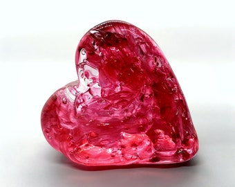 Ruby Red Hand Blown Glass Heart Paperweight