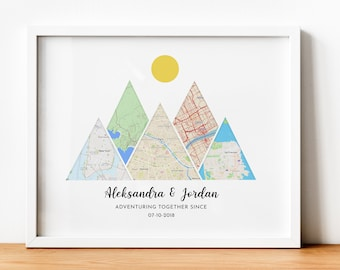 Unique Travel Gift for Travel Lovers Gifts for Parents Adventure together Map Map Anniversary Gift Best Travel Gift Anniversary Gift