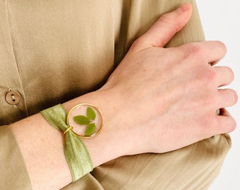 ROBIN Gold, Handcrafted jewelry, Nature jewelry bracelet, Jewelry made in France, Jewel gift, Gold color