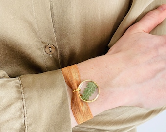 JULES Gold, Handmade bracelet, French brand jewelry, Nature and jewelry, Fern, Gold color
