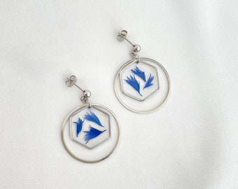 MARTA Silver, Handmade earrings, Resin flower jewelry, Jewelry made in France, Cornflower, Silver color, Valentine's day gift Woman