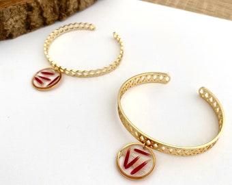 ACHILLE Nature bracelet, Petals of Germini, Women's bangle, Golden resin bracelet