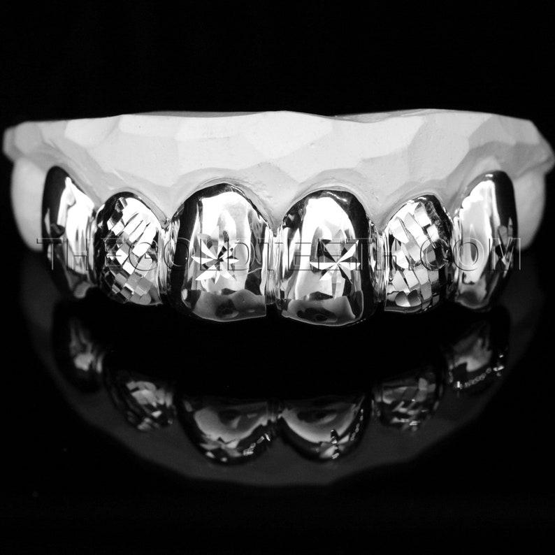 Sterling Silver Grillz 925 Silver Teeth Real Diamond Cut Silver Grill