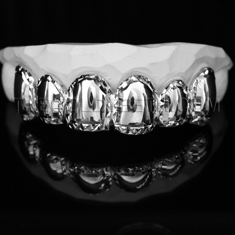 Silver Grillz 925 Sterling Custom Silver Teeth Real Diamond Cut Silver Grill
