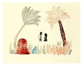 Meeting palm trees - Engraving and drawing -