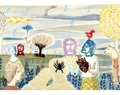 Frida and the Spider - Engraving and drawing-
