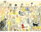 Palm grove dream - Engraving, drawing and collage-