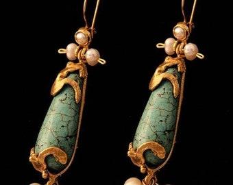 Ottoman design , antique model earrigns,natural stone turkuaz, Bestseller, fashion earrigns,bronze