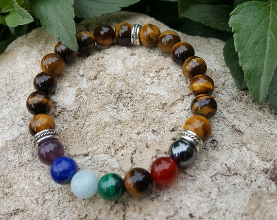 8 mm Tigers Eye Chakra Gemstone Bracelet (Stretchy and Strong)