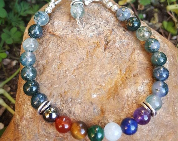 6 mm Moss Agate Chakra Gemstone (Healing) Bracelet