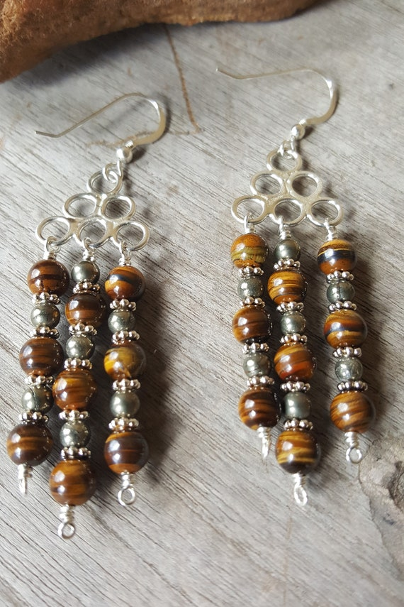 Tri-Flow Tiger's Eye Earrings with Pyrite