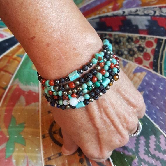 Double Tri-Flow Turquoise Chakra Bracelets