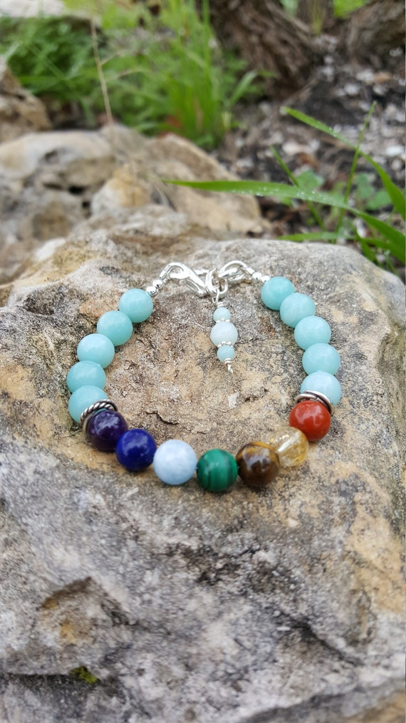 8 mm Amazonite Chakra Gemstone Bracelet