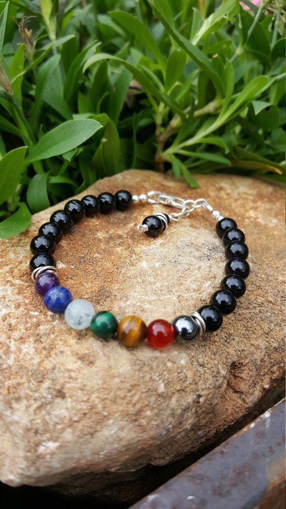 6 mm Black Onyx Chakra Gemstone (Protection) Bracelet