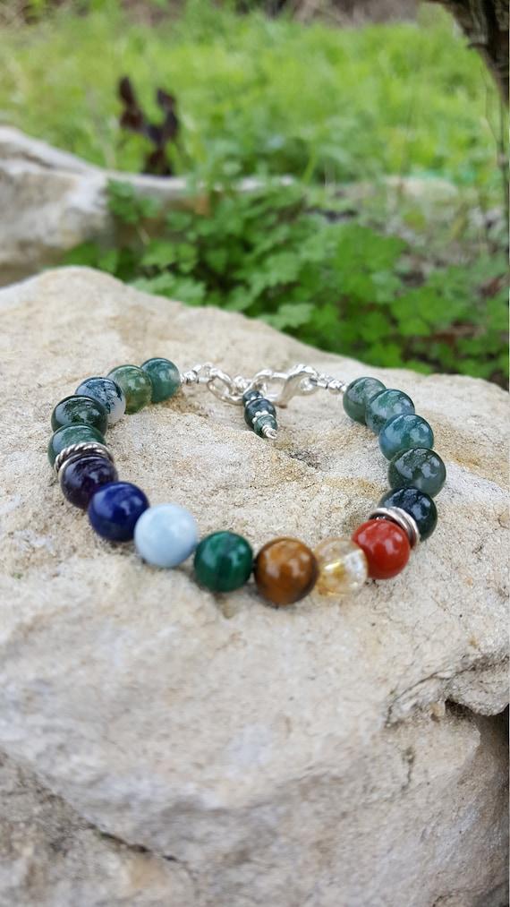 8 mm Moss Agate Chakra Gemstone (Healing) Bracelet