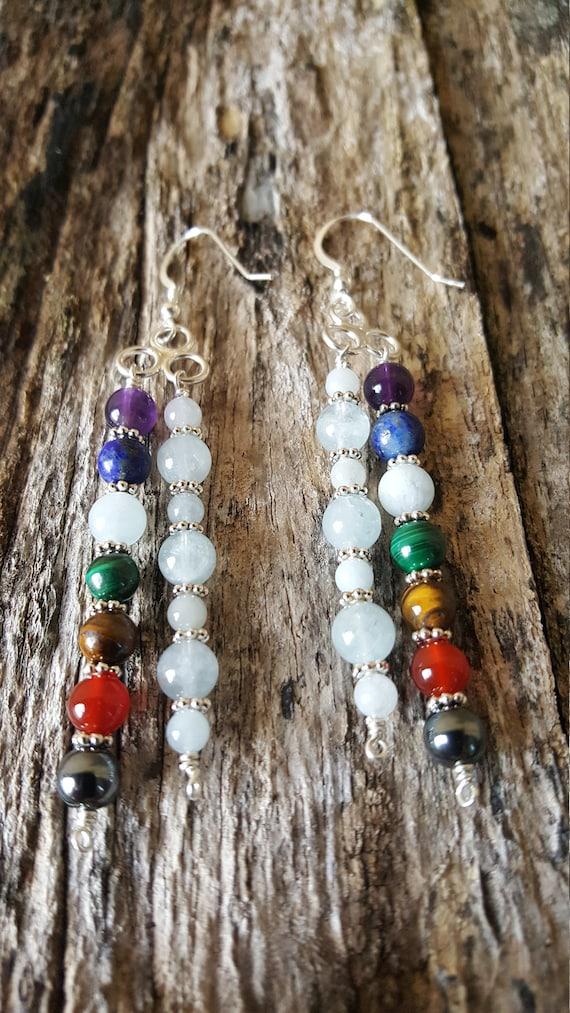 Aquamarine and Seven Chakra Gemstone Earrings