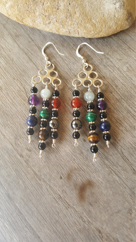 Trinity Chakra Gemstone Earrings with Black Onyx