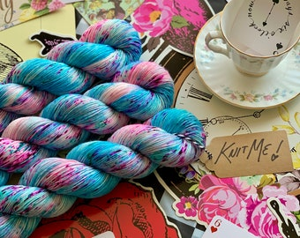 Hand Dyed Yarn - Down The Rabbit Hole Collection - Drink Me, Eat Me, Knit Me! - 4ply Fingering Weight Sock Yarn - Speckled Yarn