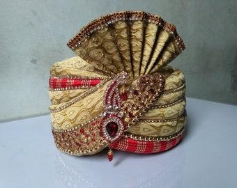 Gold Patterned Indian Pakistani Safa Pagdi Turban Hat Wedding Kulla UK Seller