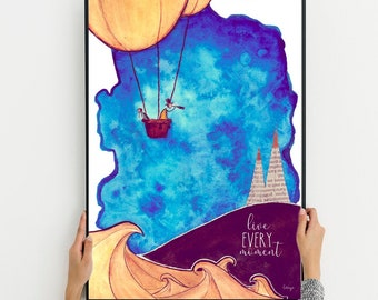 Unique Artprint of a hot air balloon, motivational quote, Digital download, Live every moment, Watercolor, Wisdom quote