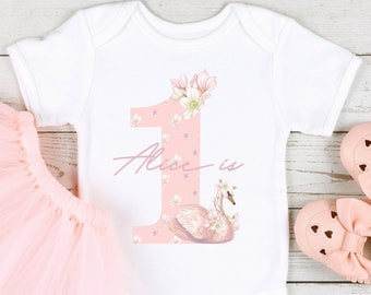 Pink Swan 1st Birthday Number Outfit ( Baby Vest T-Shirt | First Birthday Photo Gift | Little Sister Girl Bodysuit | One Today Personalised)