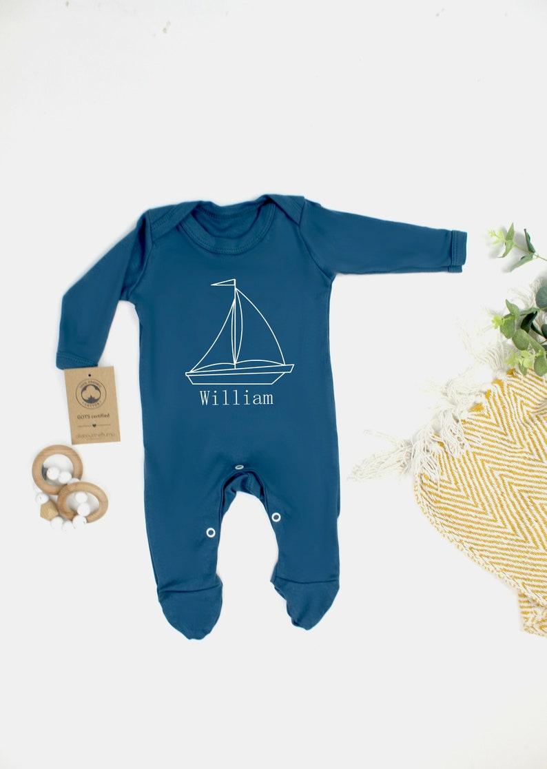 Baby Shower Gift Personalised 100/% Organic Cotton Babygrow Boat Blue Sleepsuit Newborn Baby Boy Baby Bodysuit New Baby Girl Gift