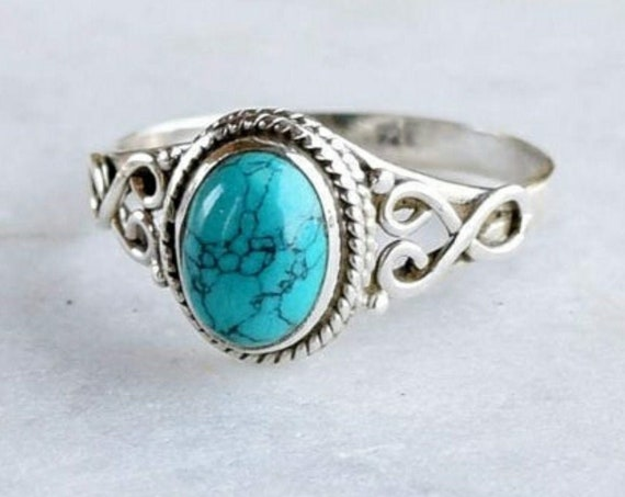 Sterling Silver Turquoise Vintage Style Ring
