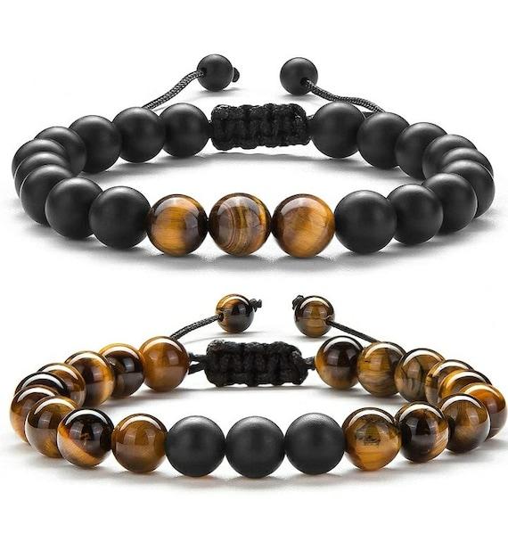 Tiger's Eye & Black Agate Beaded Bracelet Set