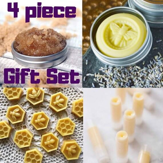 4 pc Gift Set: Organic Mango Butter Lip Balm - All Natural Lip Scrub - All Natural Texas Honey Mango Butter Lotion Bar (Full & mini size)