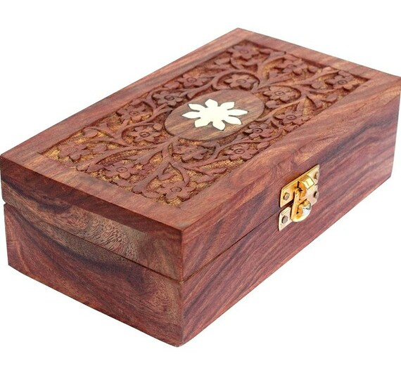 Handmade Carved Wood Box for Crystal Stone Storage Case Jewel Organizer Box - Floral Hand Carvings - Gifts for Women, 7 x 4 Inches