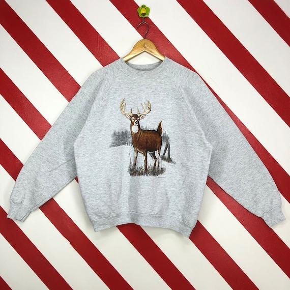 Vintage 90s Deer Sweatshirt Wildlife Deer Crewneck