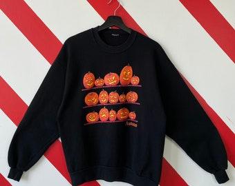 Vintage 90s Halloween Sweatshirt Halloween Crewneck Halloween Night Sweater Pullover Pumpkin Halloween Autumn Print Logo Black Medium