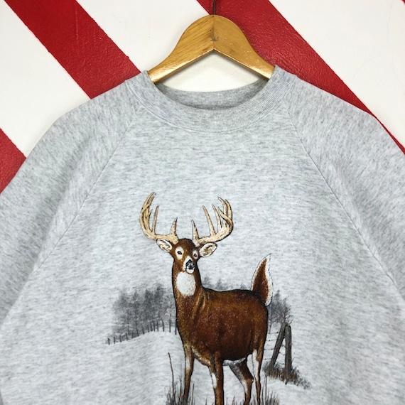 Vintage 90s Deer Sweatshirt Wildlife Deer Crewnec… - image 3