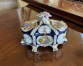 Vintage Dresden Style Cobalt Blue Porcelain Covered Box Victorian Style Porcelain