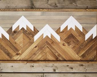 Wood Wall Art - Five Mountain Peaks