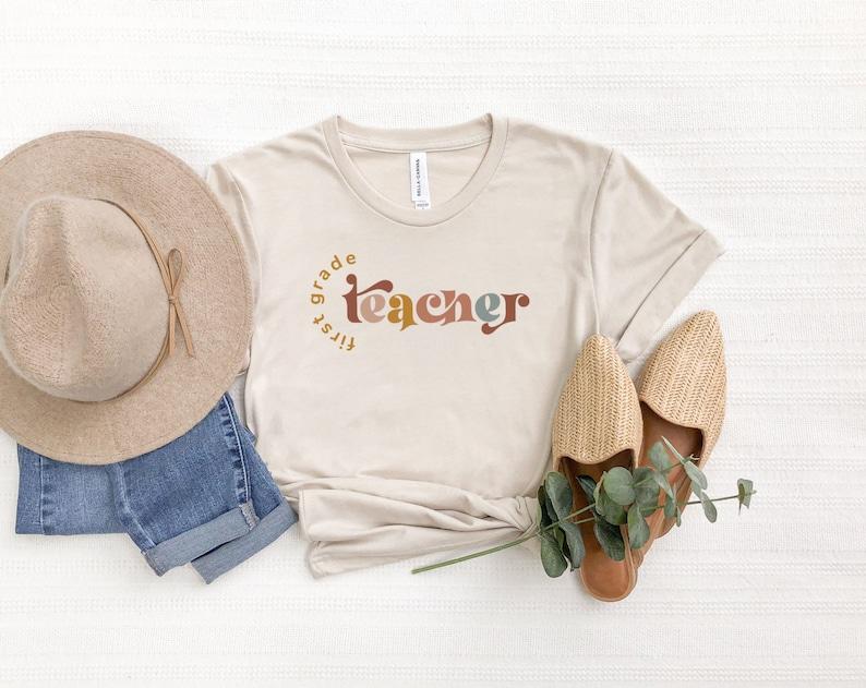 First Grade Teacher Shirt Teacher Shirt Retro Tee Back To Heather Dust