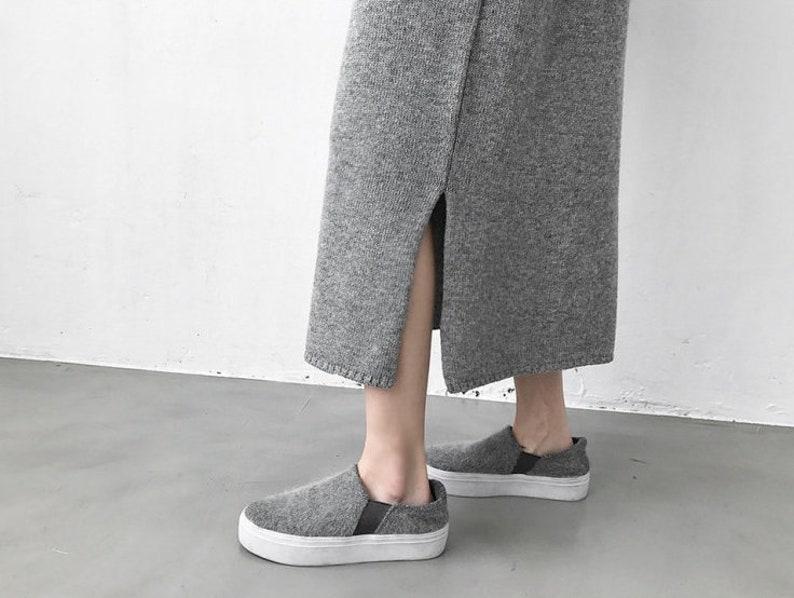 Winter Gray Sweater Dress Minimalist Women Knitted Female Loose Long Dresses Womens Oversize Warm Turtleneck Knit