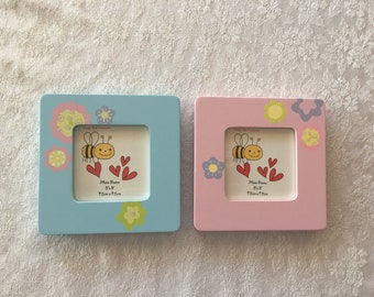 Happy Bees /& Cute red Hearts Attached on Wooden Children Photo Frame Set of 2 Wood Photo Frame,Hearts Frame Display for Picture with 4x6 Valentines Frame,Kids Photo Frame