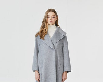Diagonal Frill Edge Light Grey One-piece Coat A Korean designer made in Korea LBYL