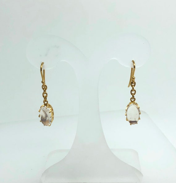Dainty Oval Moonstone drop Earrings