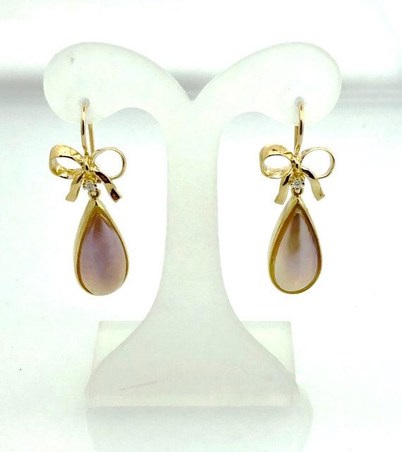 Bronze Mabe Pearl Teardrop and Diamond Gold earrin