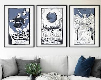 3 piece wall art | Tarot wall art | Tarot print | Aesthetic room decor | Tarot art | Tarot card print