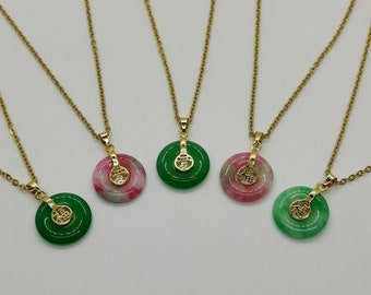 Genuine Small Multi Color Jade Fu and Love Pendant Necklace Plated with 18k Gold - 18 Inches Gold Chain - **Mega Sale While Supply Last**