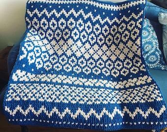 Blanket Pattern Download // PATTERN: Ski Patrol Scandinavian Blanket // Alize Puffy More // Bernat Graph It // Loop Yarn Finger Knitting