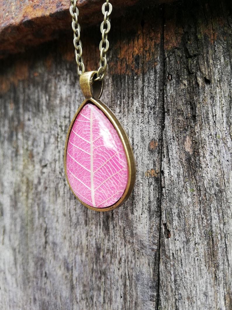 tree leaf ribs Natural vegetable necklace real plant botanical jewel lace leaf pink leaf