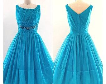 Vintage 1950's teal party dress