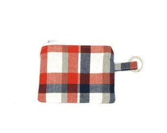 Boho zipper pouchwoven ethnic striped fabricmetal zippercoin pouchmodern rusticclutch bagcell phone holderpurse organizer