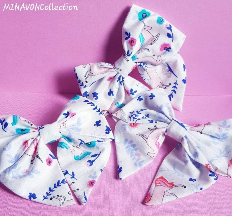 Barrettes Hair Bow Unicorn Hair Bow on Barrette clips Hair Clip Navy unicorn sailor bow White unicorn sailor bow